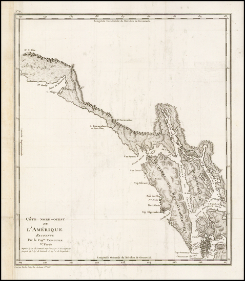 54-Alaska and Canada Map By George Vancouver