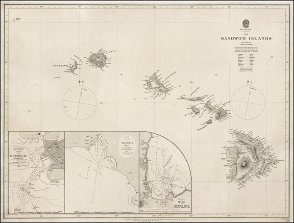 45-Hawaii and Hawaii Map By British Admiralty