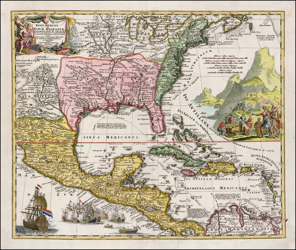 74-South, Southeast, Texas, Midwest and Caribbean Map By Johann Baptist Homann