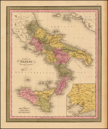 94-Italy and Balearic Islands Map By Samuel Augustus Mitchell