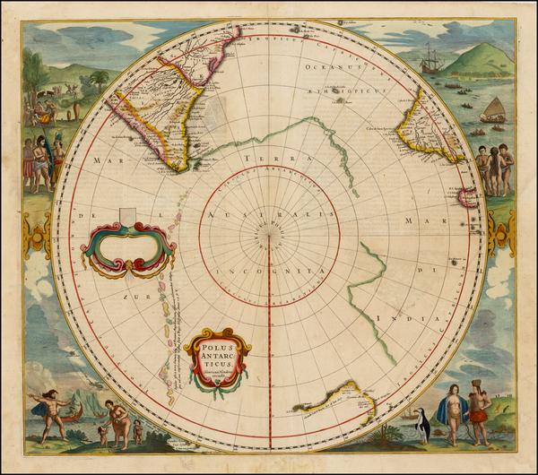 22-Polar Maps, Australia and New Zealand Map By Henricus Hondius