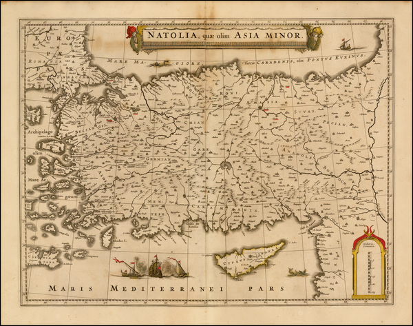 46-Turkey, Mediterranean, Balearic Islands and Turkey & Asia Minor Map By Willem Janszoon Blae