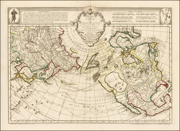 87-Alaska, North America, Canada, China, Japan, Pacific and Russia in Asia Map By Philippe Buache
