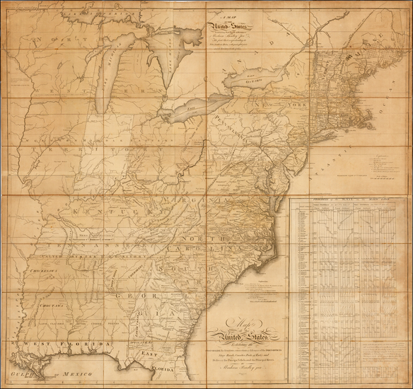 69-United States, New England, Mid-Atlantic, Southeast and Midwest Map By Abraham Bradley