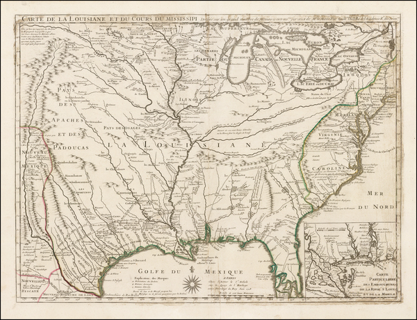 7-South, Southeast, Texas, Midwest, Plains and Southwest Map By Guillaume De L'Isle