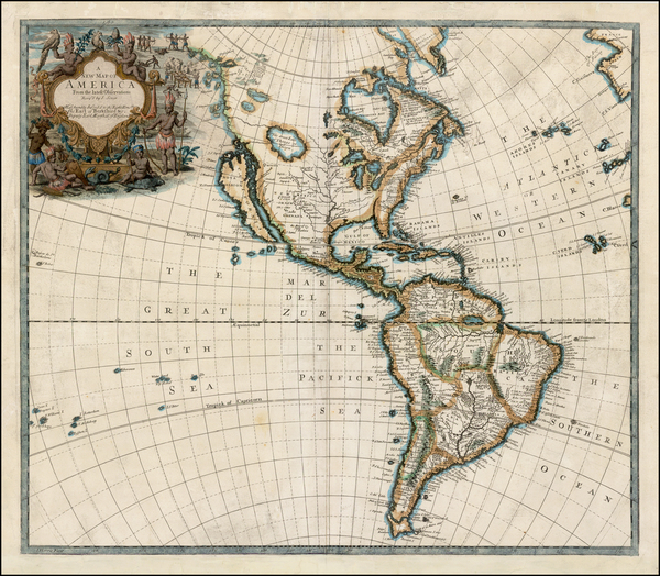 57-South America and America Map By John Senex