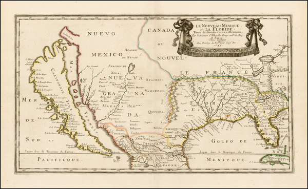 89-Florida, Southeast, Texas, Midwest, Southwest and California Map By Nicolas Sanson