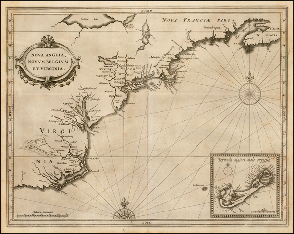 65-New England, Mid-Atlantic and Southeast Map By Joannes De Laet