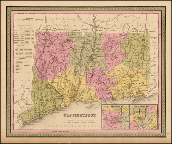 57-New England and Connecticut Map By Samuel Augustus Mitchell