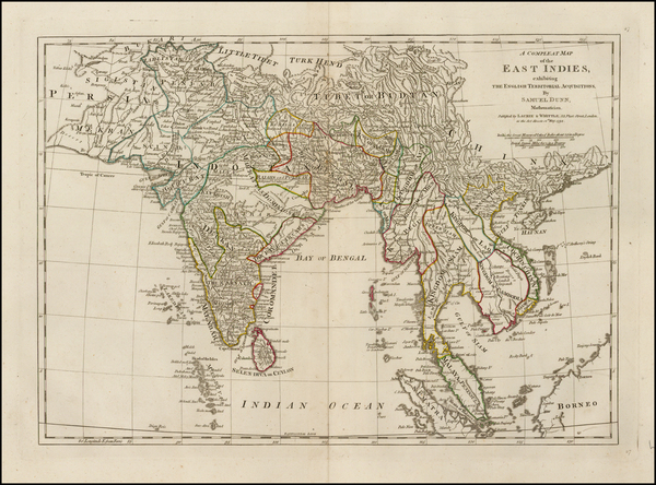 India & Sri Lanka and Southeast Asia Map By Samuel Dunn
