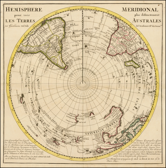 69-Southern Hemisphere, Polar Maps, Australia and New Zealand Map By Hendrick De Leth