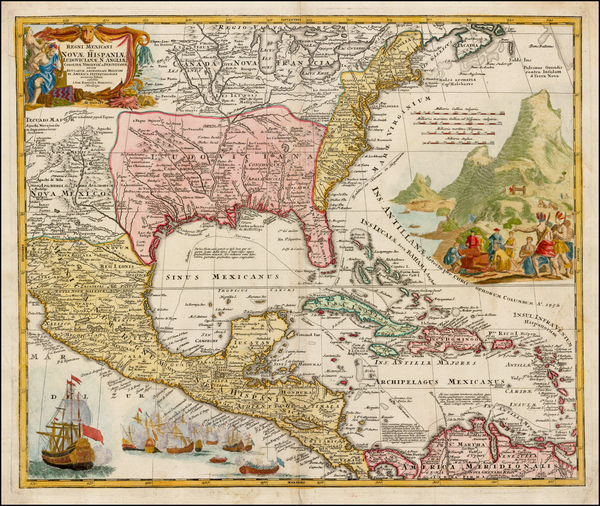 98-United States, South, Southeast, Texas, Midwest and Caribbean Map By Johann Baptist Homann