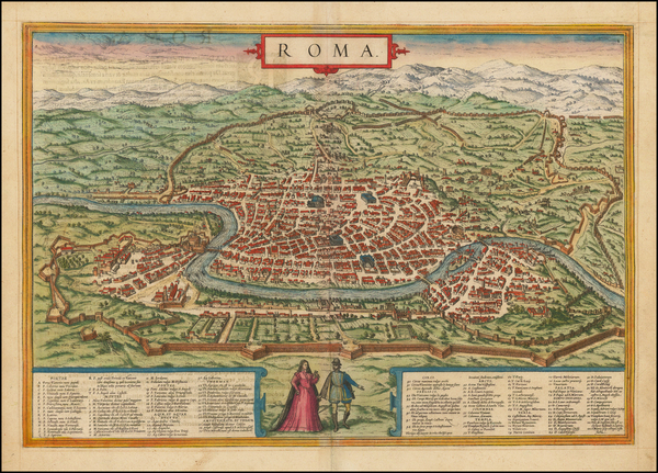 96-Rome Map By Georg Braun  &  Frans Hogenberg