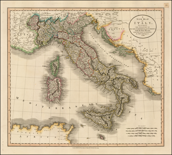 97-Italy and Balearic Islands Map By John Cary