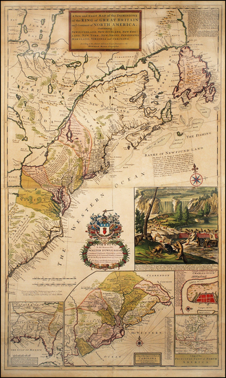 74-United States, New England, Mid-Atlantic and Southeast Map By Herman Moll