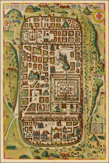 87-Holy Land and Jerusalem Map By Georg Braun  &  Frans Hogenberg