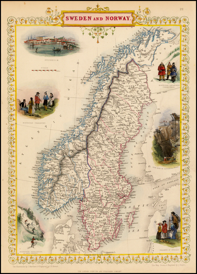 26-Scandinavia Map By John Tallis