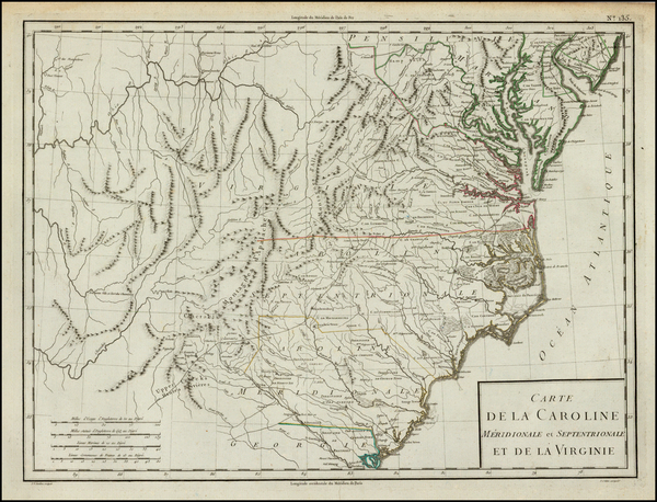 56-Southeast, North Carolina and South Carolina Map By Pierre Antoine Tardieu