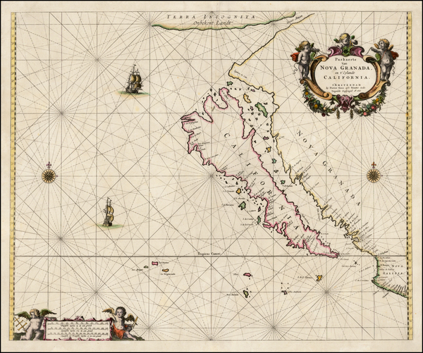 65-Southwest, North America, Baja California, Pacific and California Map By Pieter Goos