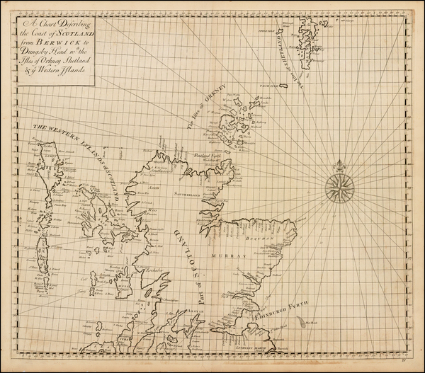 14-Scotland Map By John Senex / Edmund Halley / Nathaniel Cutler