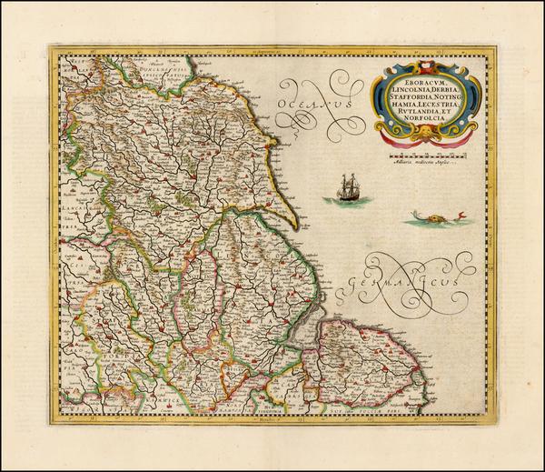 57-British Isles, England and British Counties Map By Henricus Hondius - Jan Jansson