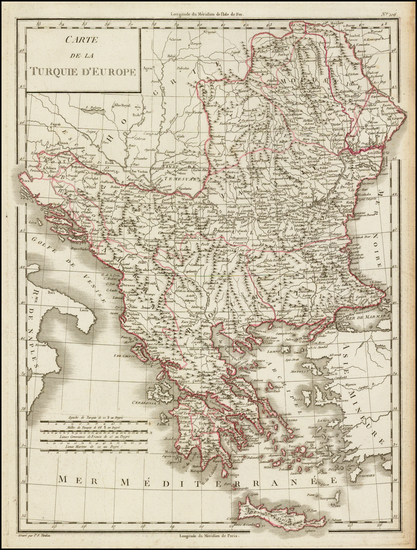 100-Balkans, Greece and Turkey Map By Pierre Antoine Tardieu