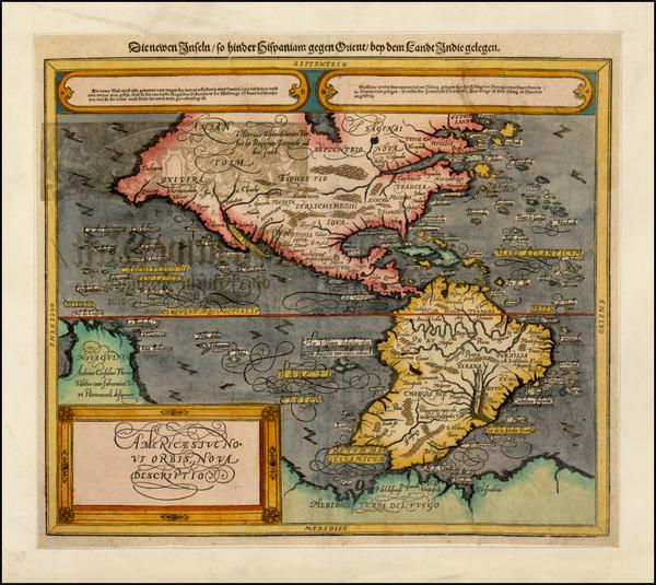 40-Western Hemisphere, South America and America Map By Sebastian Munster