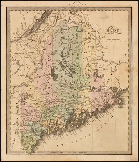 35-New England and Maine Map By Jeremiah Greenleaf