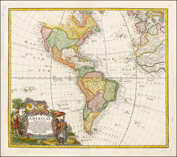 57-Western Hemisphere, South America and America Map By Homann Heirs / Johann Matthaus Haas