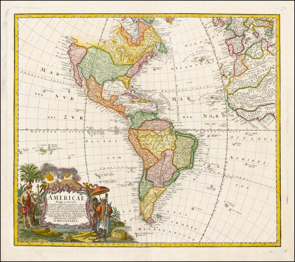 4-Western Hemisphere, South America and America Map By Homann Heirs / Johann Matthaus Haas