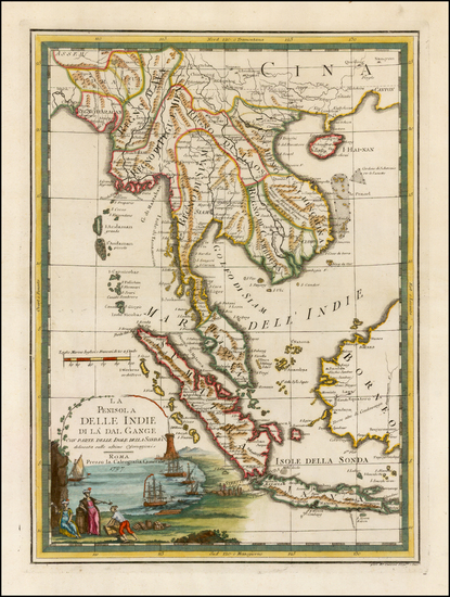 74-Southeast Asia and Thailand, Cambodia, Vietnam Map By Giovanni Maria Cassini