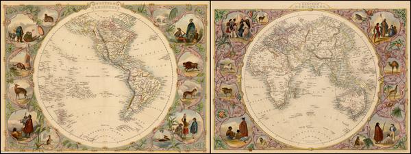77-World, Eastern Hemisphere, Western Hemisphere, South America and America Map By John Tallis