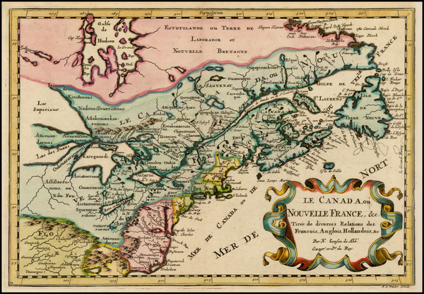 2-New England, Midwest and Canada Map By Nicolas Sanson