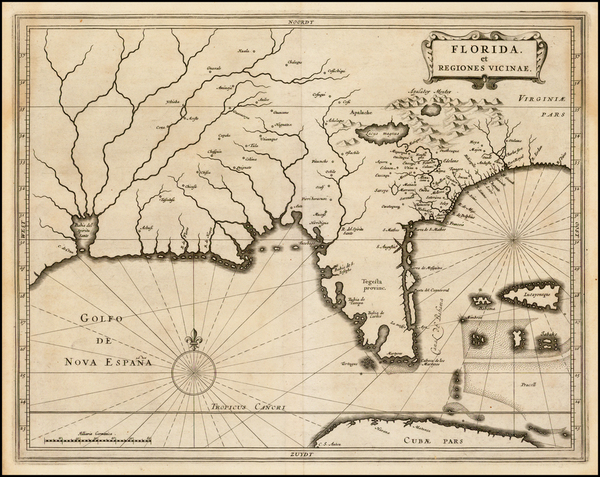66-Florida, South and Southeast Map By Joannes De Laet