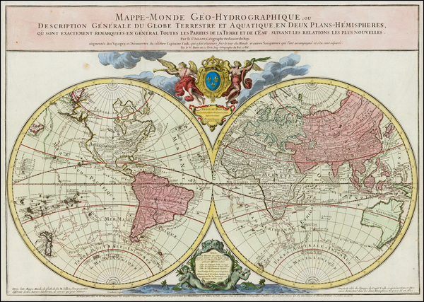 34-World and World Map By Louis Brion de la Tour / Alexis-Hubert Jaillot