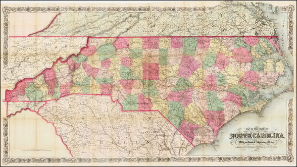 82-North Carolina Map By G.W.  & C.B. Colton