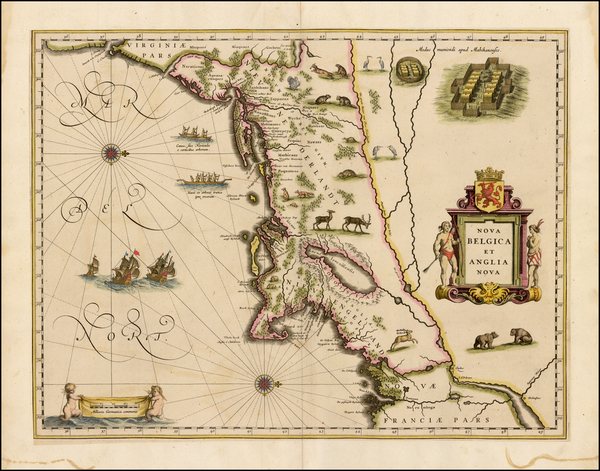4-New England, New York State and Mid-Atlantic Map By Willem Janszoon Blaeu