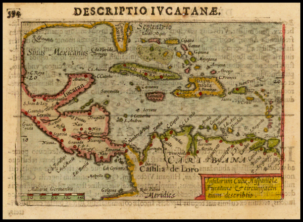 40-Mexico, Caribbean and Central America Map By Petrus Bertius