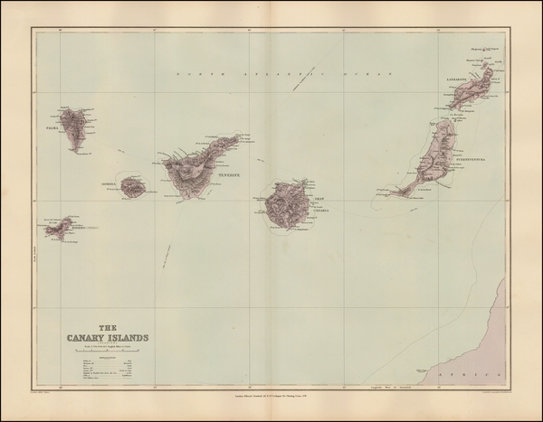 Spain and African Islands, including Madagascar Map By Edward Stanford