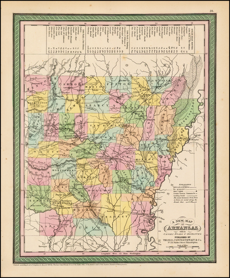 48-South and Arkansas Map By Thomas, Cowperthwait & Co.