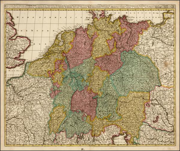 64-Germany, Austria, Poland and Czech Republic & Slovakia Map By Gerard & Leonard Valk