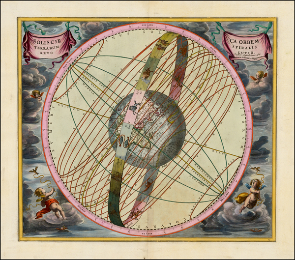 45-Eastern Hemisphere and Celestial Maps Map By Andreas Cellarius