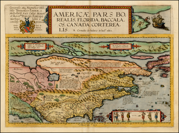 54-Polar Maps, United States and North America Map By Cornelis de Jode