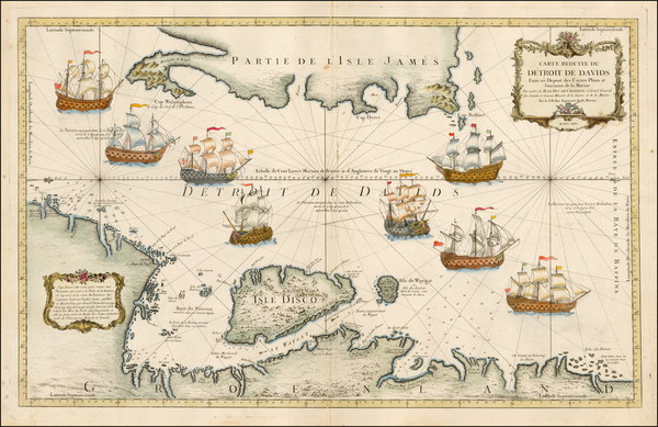 57-Polar Maps and Canada Map By Jacques Nicolas Bellin