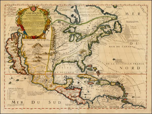 29-North America and California Map By Vincenzo Maria Coronelli / Jean-Baptiste Nolin