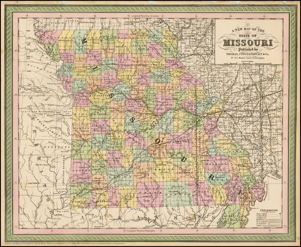 69-Missouri Map By Thomas, Cowperthwait & Co.