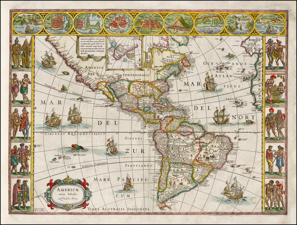 51-North America, South America and America Map By Willem Janszoon Blaeu