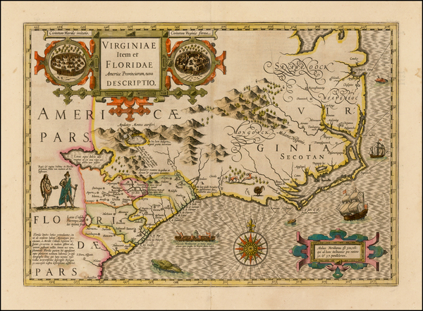 0-Mid-Atlantic and Southeast Map By Jodocus Hondius