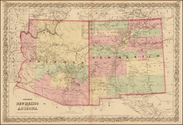 57-Southwest, Arizona and New Mexico Map By G.W.  & C.B. Colton