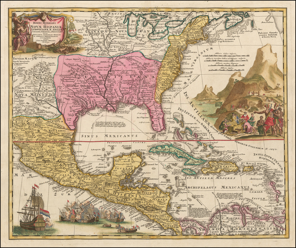 73-United States, South, Southeast and Midwest Map By Johann Baptist Homann
